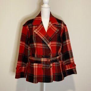 Ralph Lauren Country Vintage Plaid Wool Peacoat